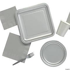 Solid Color Metallic Silver Tableware