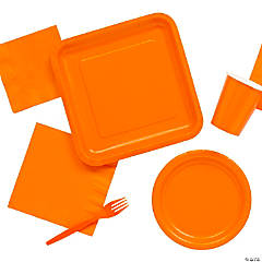 Solid Color Orange Tableware