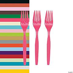 Solid Color Plastic Forks