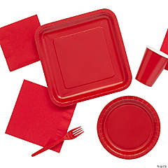 Solid Color Red Tableware