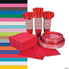 Solid Color Tableware Party Packs for 48