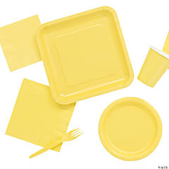 Solid Color Yellow Tableware
