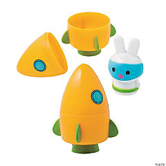 Space Bunny-Filled Carrot Rocket Plastic Easter Eggs - 12 Pc.