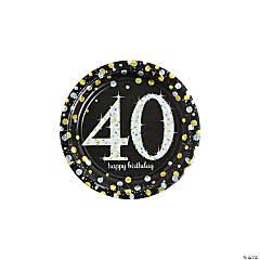 Sparkling Celebration 40th Birthday Paper Dessert Plates