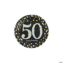 Sparkling Celebration 50th Birthday Paper Dessert Plates