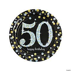 Sparkling Celebration 50th Birthday Paper Dinner Plates
