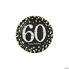 Sparkling Celebration 60th Birthday Paper Dessert Plates