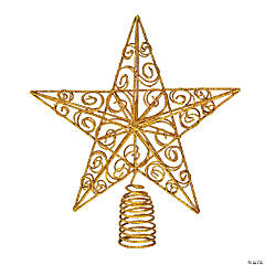 Sparkly Gold Star Christmas Tree Topper