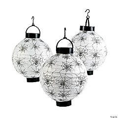Spider & Cobweb Light-Up Hanging Paper Lanterns