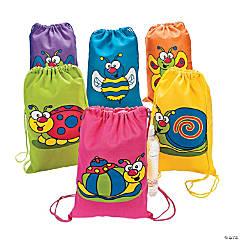 Spring Bug Canvas Drawstring Backpacks
