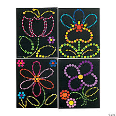 Spring Flowers Sticker Dot Art