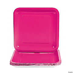 Square Dinner Plates - Hot Pink