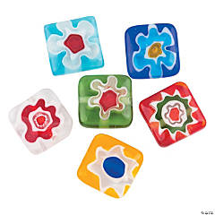 Square Flower Millefiori Beads - 12mm