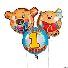 1st Birthday Bear Mylar Balloon Set