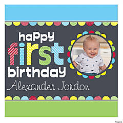 1st Birthday Boy Custom Photo Mini Square Banner