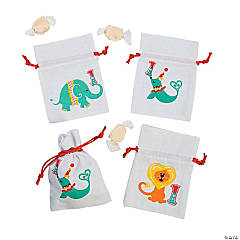 1st Birthday Circus Drawstring Pouches