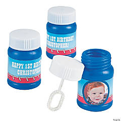1st Birthday Cowboy Custom Photo Blue Bubble Bottles
