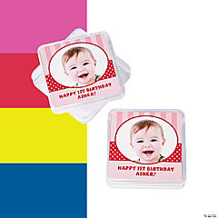 1st Birthday Custom Photo Square Containers