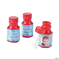 1st Birthday Farm Custom Photo Hexagon Bubble Bottles