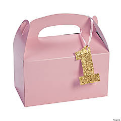 1st Birthday Light Pink Birthday Treat Boxes with Tag