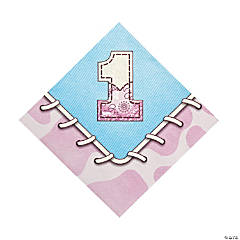 1st Birthday Pink Cowgirl Luncheon Napkins