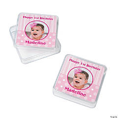 1st Birthday Princess Custom Photo Square Containers