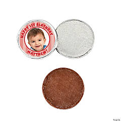 """1st Birthday"" Red Custom Photo Chocolate Coins"
