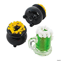 St. Patrick's Day Beer Mugs & Pot of Gold Lampwork Beads - 16mm-19mm