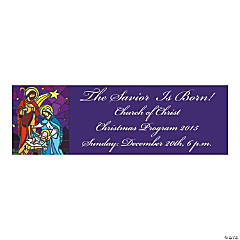 Stained Glass Nativity Large Personalized Banner