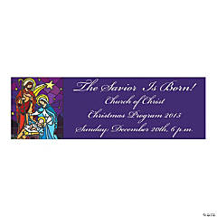 Stained Glass Nativity Medium Personalized Banner