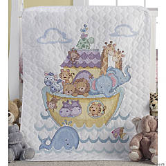 Stamped Crib Cover Xstitch Kit-Noah Ark