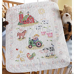Stamped Cribcoverxstitch Kit-On The Farm