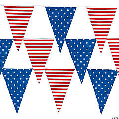 Stars & Stripes Plastic Pennant Banner