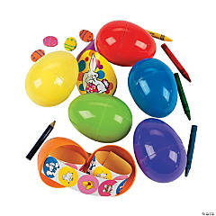 Stationery-Filled Jumbo Plastic Easter Eggs - 24 Pc.