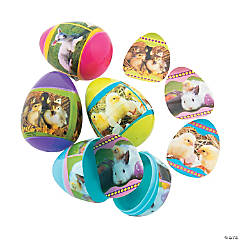 Sticker-Filled Baby Animal Plastic Easter Eggs