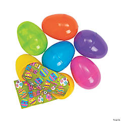 Sticker Scene-Filled Plastic Easter Eggs