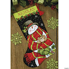 Stocking Needlepoint Kit -Snowman & Bear
