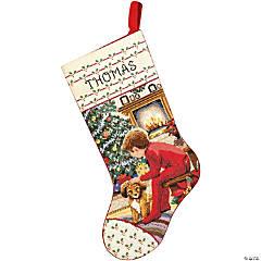 Stocking Xstitch Kit-Waiting For Santa
