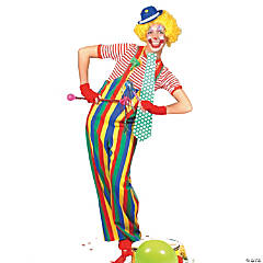 Striped Clown Overalls Adult Men's Costume