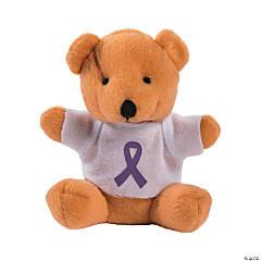 Stuffed Bears with Purple Awareness Ribbon T-Shirts