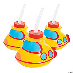 Submarine Cups with Lids & Straws