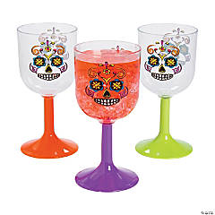 Sugar Skulls Plastic Wine Glasses