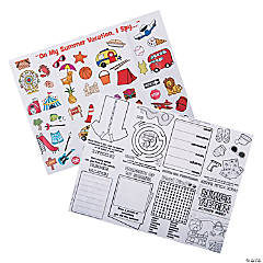 Summer Vacation Fold-Up Activity Sheets