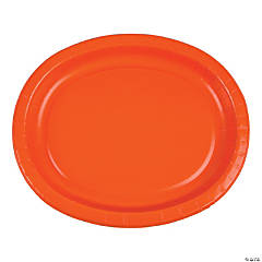 Sunkissed Orange Oval Paper Dinner Plates