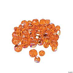 Sunset Orange Aurora Borealis Cut Crystal Round Beads - 4mm-6mm