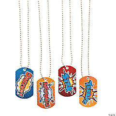 Superhero Dog Tag Necklaces