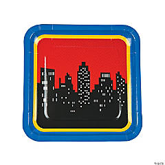 Superhero Square Paper Dinner Plates