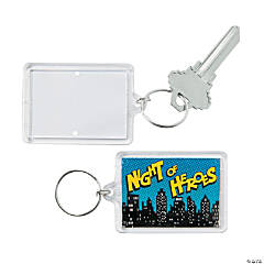 Superhero Theme Picture Frame Key Chains