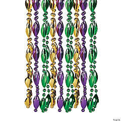 Swirl Mardi Gras Bead Necklaces