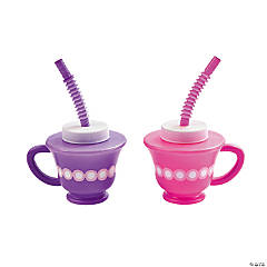 Tea Party Novelty Cups with Straws